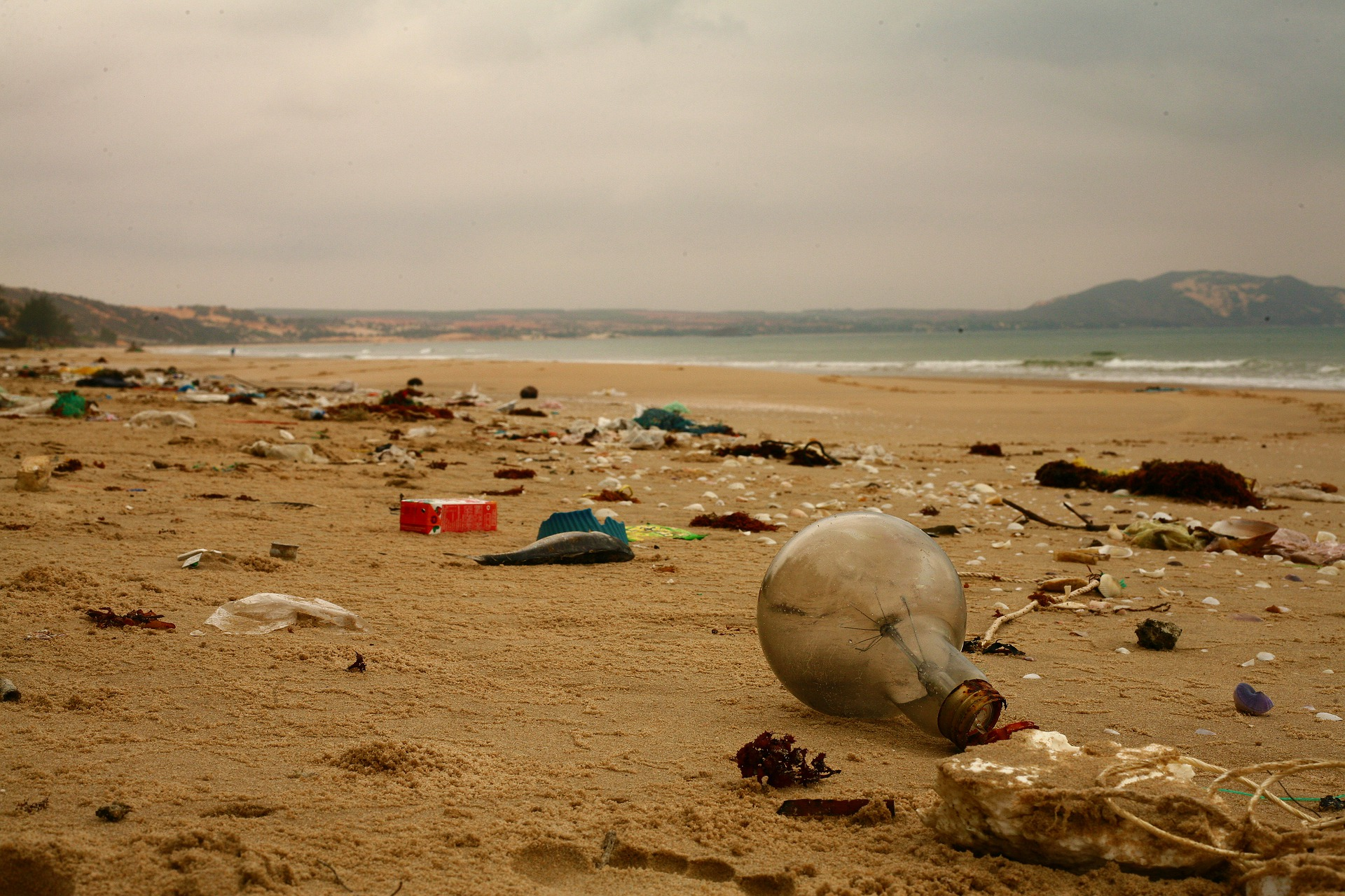 trash strewn across a beach